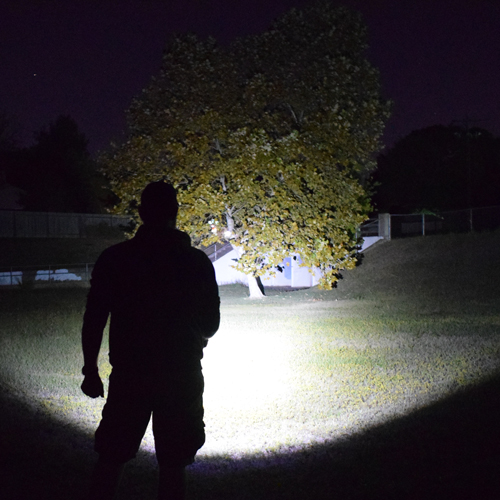 tactical flashlight bright output example